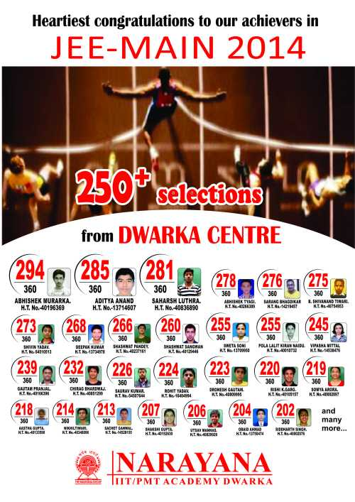 narayana iit academy jee main 2014 result from dwarka centre